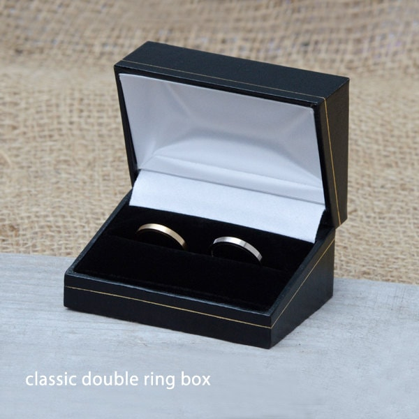 Classic Double Ring Box Wooden Double Ring Box For Wedding Ring