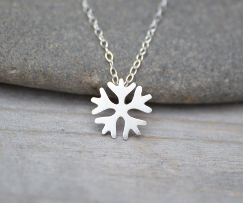 Snowflake Necklace in Sterling Silver Handmade in the UK image 0