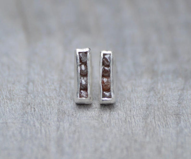 11be00a49 Raw Diamond Earring Studs Total 0.8ct Raw Diamonds Diamond | Etsy