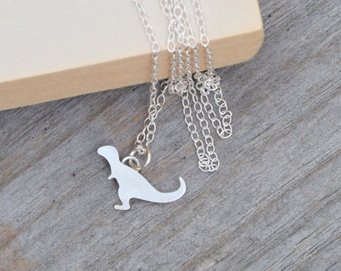 T-Rex Necklace in Sterling Silver, Silver Dinosaur Necklace, Tyrannosaurus Necklace