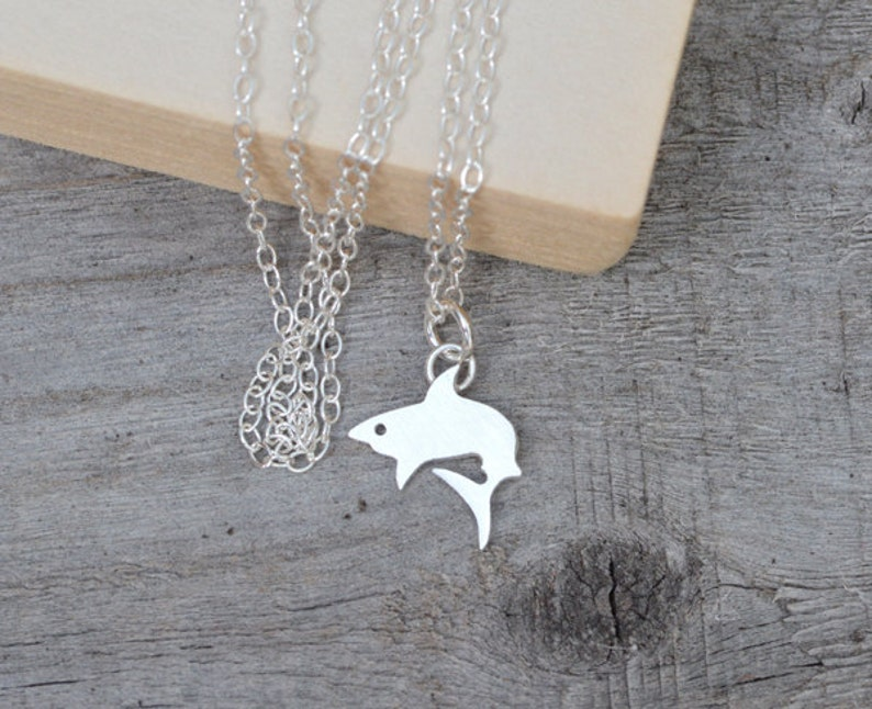 Shark Necklace in Sterling Silver Silver Fish Necklace image 0