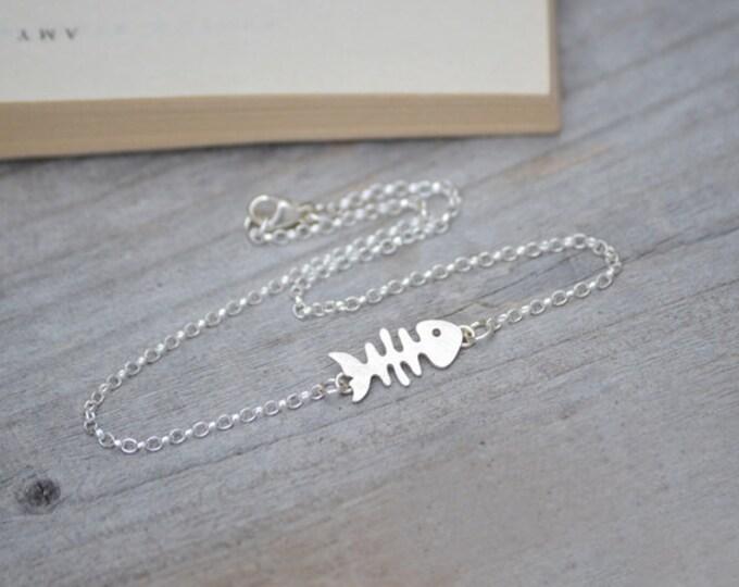 Fishbone Bracelet, Fishbone Anklet, Silver Animal Bracelet