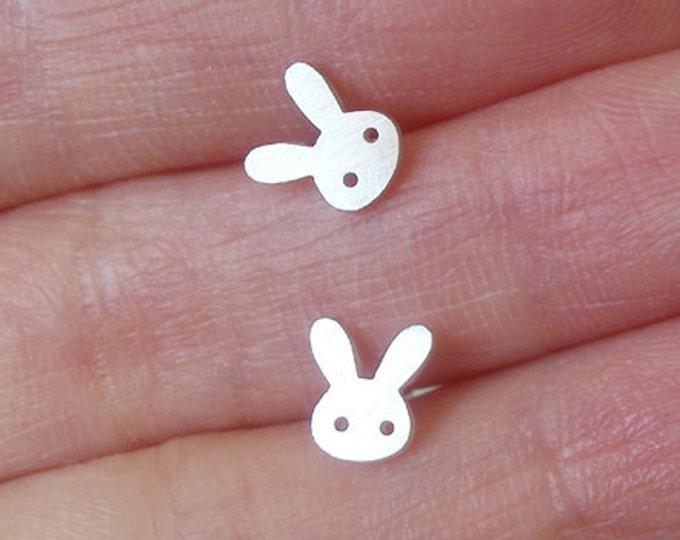 Rabbit Stud Earrings in Sterling Silver, Bunny Ear Posts