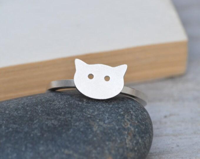 Cat Ring in Sterling Silver, Silver Kitten Ring