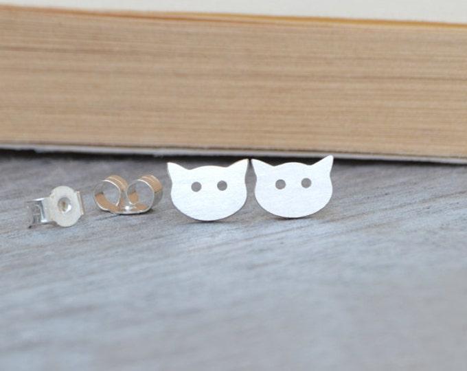 Cat Stud Earrings in Sterling Silver, Kitten Ear Studs