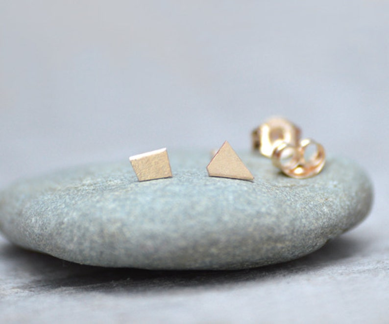 c0f268e8d Tiny Quadrilateral Earring Studs in 9ct Yellow Gold Simple | Etsy