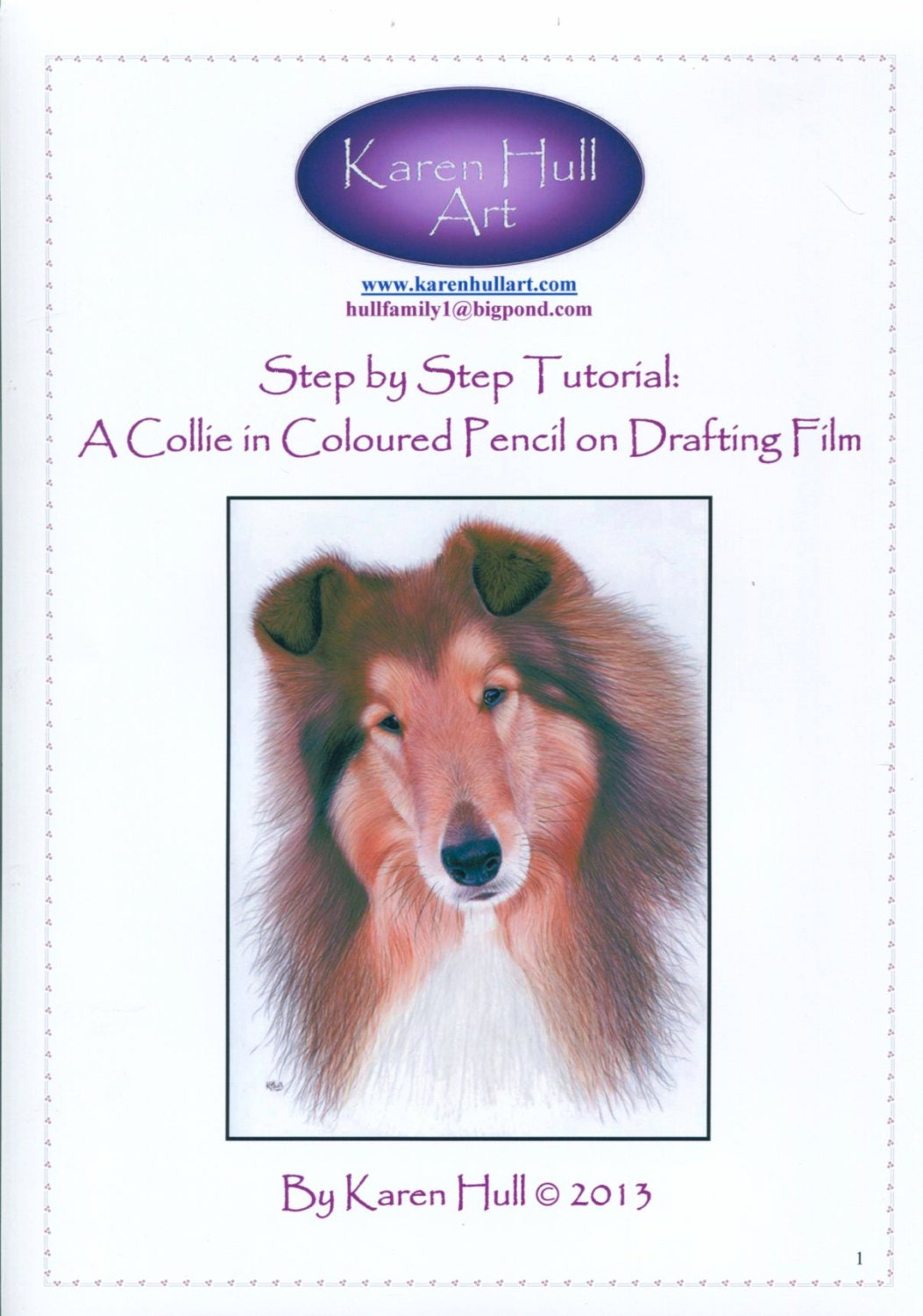 Step By Step Art Tutorial Drawing A Collie Using Coloured Etsy
