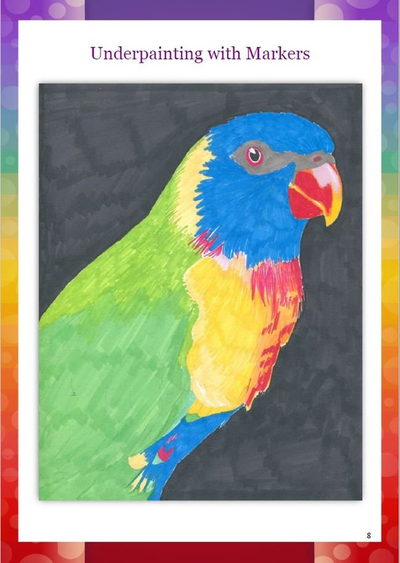Step By Step Art Tutorial Rainbow Lorikeet In Markers And Etsy