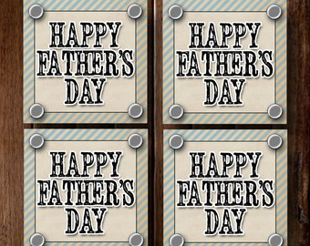 Happy Father's Day Tags- (6) 3x3 Cards- Instant download