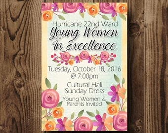 Young Women In Excellence Invitation, Young Women In Excellence 2017 Invitation, LDS Invitation, LDS Young Women Printable, Young Women 2017