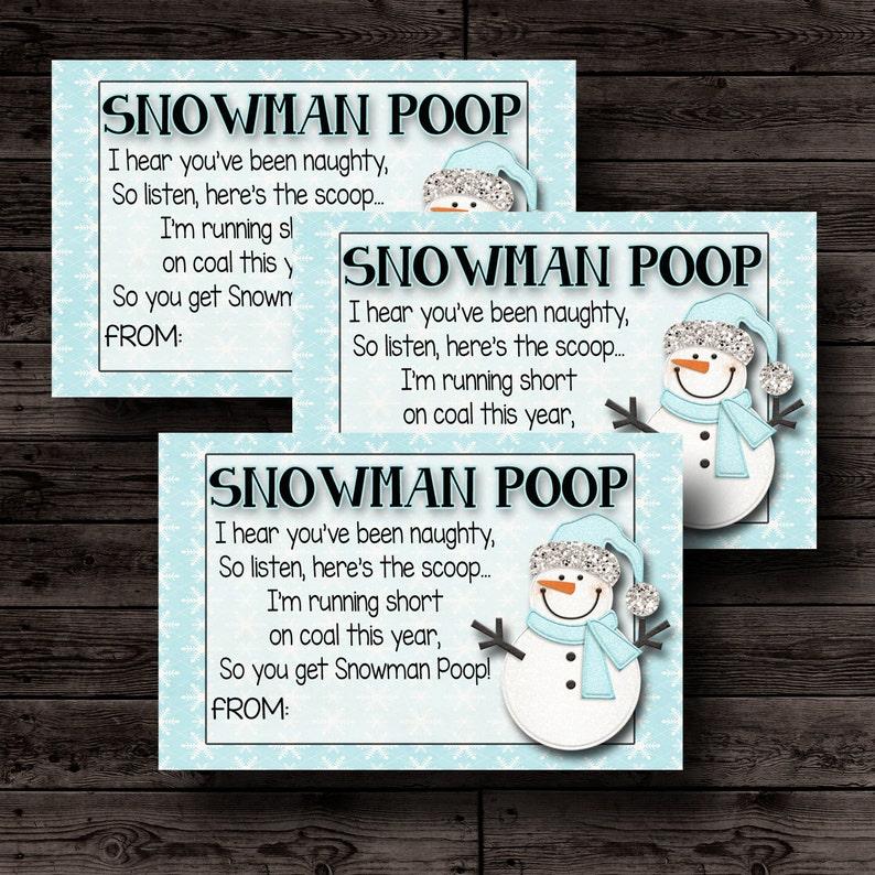 Snowman Poop Printable Christmas Tags Christmas Gift For Etsy