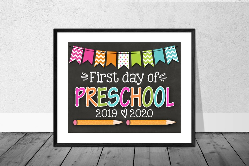 image regarding First Day of Preschool Sign Printable titled 1st Working day of Preschool Signal, Printable Initially Working day, Higher education Signal, Again Towards University Signal, Preschool Indicator, Chalkboard Indicator, 2019, Instantaneous Obtain