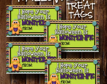 Halloween Treat Tags- I hope your halloween is MONSTERIFIC- (10) 2x3.5 Cards- Instant download