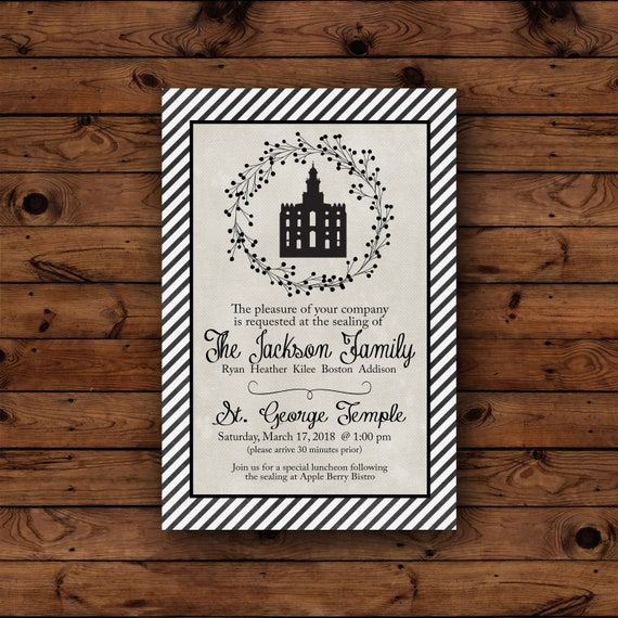 LDS Invitation Temple Sealing Wedding Invite Marriage Relief Society