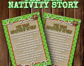 The M&M Nativity Story- (4) 3.5x5 Cards- Instant download