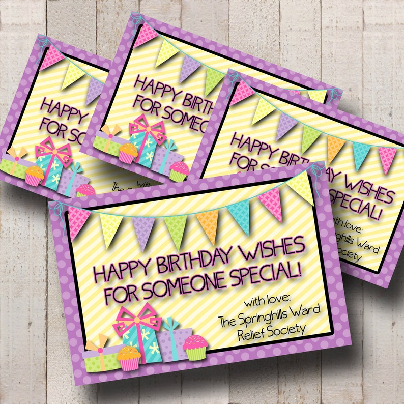NEW Relief Society Customized Birthday Cards Printable