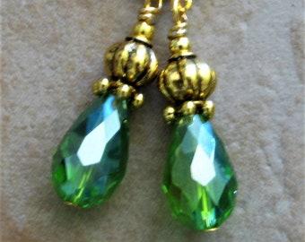 Grass GREEN Crystal TEARDROP Lantern Gold Plated Lever Back Earrings