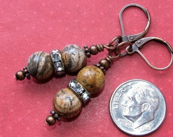 PICTURE JASPER Drop Crystal Roundel Lever Back Copper Tone Earrings Handcrafted