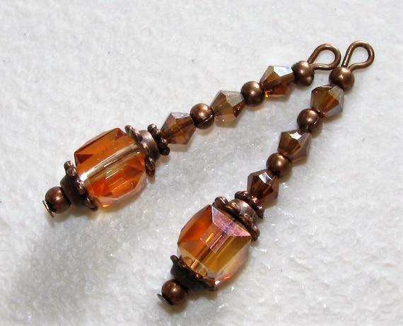 7ff44de6b4a2 2 Pcs Orange Dark Topaz Copper Tone Drop Dangle Charms