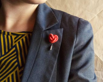 Orange Heart brooch for lapel father's day ideas gifts Knotted Boutonniere Heart Pin stick gift for him. Gift ideas for her. Thousandknots