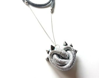 Big Silver spiked Heart pendant with cord necklace for Mother's day gifts Original feminine Jewelry fashion idea for rock punky power women