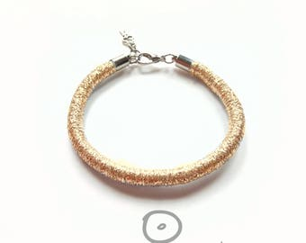 Mother's day gift for mom Gold Rope Bracelet Textile jewelry everyday jewelry Golden Gifts for glam girl Minimal Shining bracelets