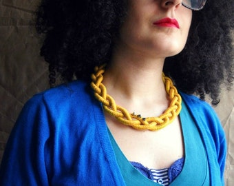 Mustard Statement Braided Necklace in Yellow with spikes Trendy Textile Fiber choker necklace Women chic Jewellery Mother's gifts for her