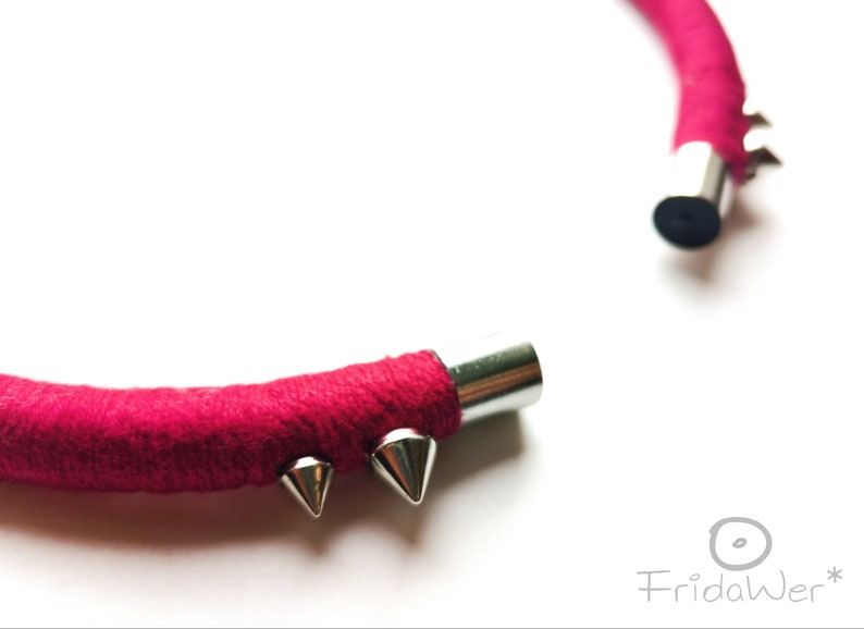 Dark red open necklace with spikes Studded necklace  for women textile punk Neck ring collar necklace minimal jewellery