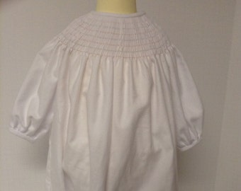 Ready to Smock Cashmere Cotton Baby White  Drawstring Daygown NB-8lbs Made to Order