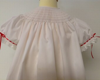 Ready to Smock Made to Order 3m, 6m, 12 m, 18m Bishop Dress with French handsewn sleeves imp broadcloth