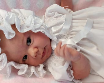 Ready To Smock Infant Bishop Daygown and Bonnet Made to order  French Handsewn