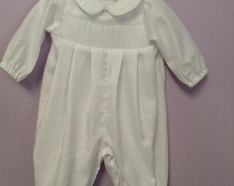 Ready to Smock newborn Swiss Cotton Flannel Romper