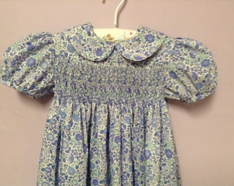 Ready to Smock Liberty Tana Lawn Yoke Dress size 1, 2 or 3 Made to Order