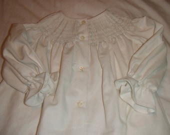 Made to Order Ready to Smock Button Front White Corduroy Long Sleeve Bishop Dress  6-12m