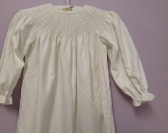 Ready to Smock Made to Order White Corduroy Bishop Dress size 2