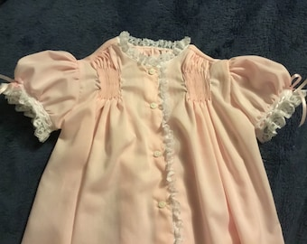 Ready to Smock Made to Order Infant Girl Daygown  Smocked areas on Fronts and Back