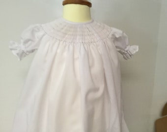 Ready to Smock Made to Order  Satin Batiste Button Front or Back Infant Daygown