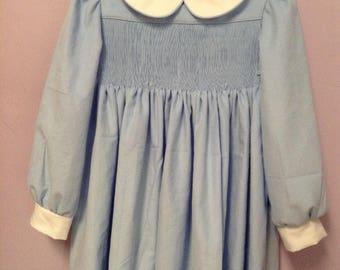 Ready to Smock Corduroy Yoke style Dress sizes 1, 2 or 3 Made to Order
