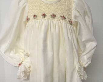 Infant Smocked Baby Girl Daygown Swiss Cotton Flannel Long Sleeves