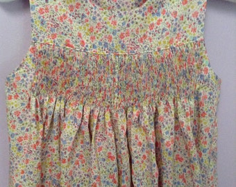 Ready to Smock Made to Order Liberty of London Button Shoulder Romper 12m or 18m