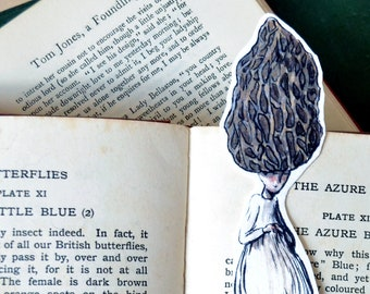 Morel Morchella Esculenta mushroom bookmark. Illustrated botanical, autumn, undergrowth bookmark