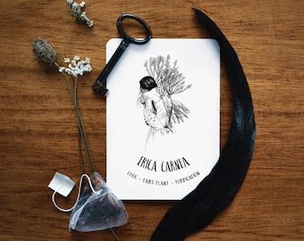 Erica Carnea postcard. Winter Heath - Heather illustration, witchcraft antique botanical prints, magic plant print, witch home decor