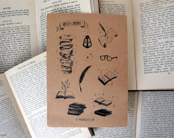 """Sticker """"Witch's Library"""" A5 sheet with 14 magic shaped stickers in kraft paper"""