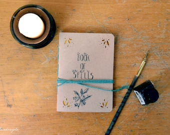 Book of Spells  recycled Notebook with ivory, brown page. A6  sketchbook organizer journal