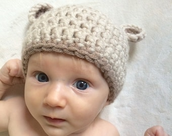 Baby bear hat, 0-3 months, newborn, baby shower gift