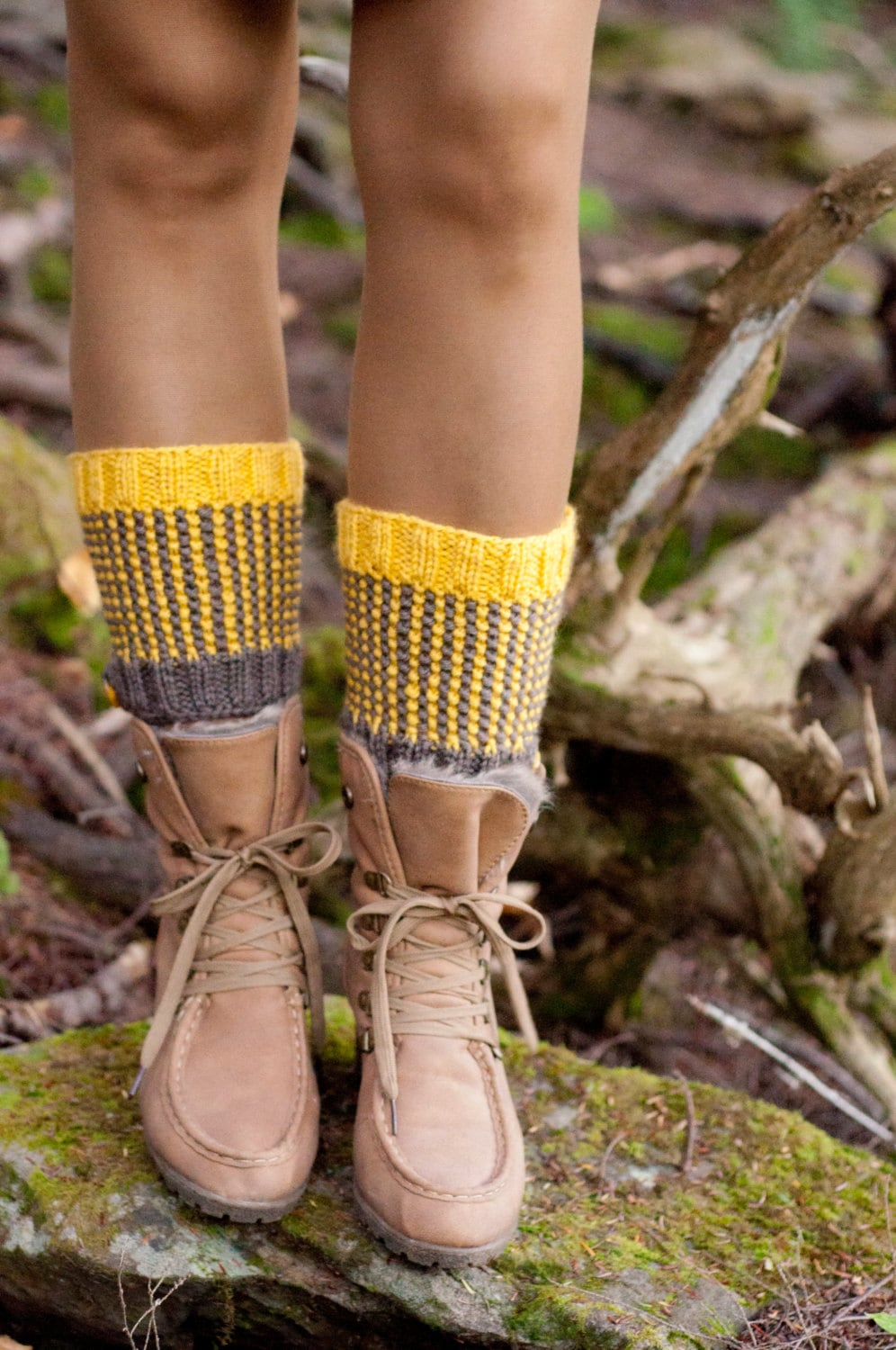 Spats, Gaiters, Puttees – Vintage Shoes Covers Two-Tone Totally Reversible Hand-Knit Boot Cuffs Chunky Texture Waffle Toppers Striped Spats Legwear Gaiters Taupe Mustard $45.00 AT vintagedancer.com