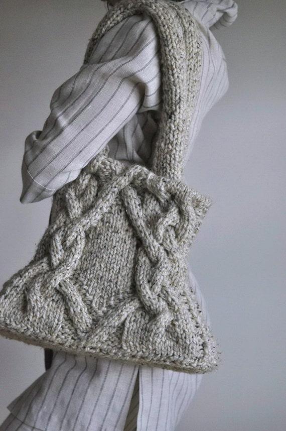 Items Similar To Unique Hand Knit Cable Shoulder Bag