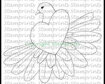 Heart Dove (TLS-1719) Digital Stamp. Cardmaking.Scrapbooking.MixedMedia.
