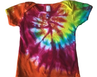 Tie-Dye Toddler Dress 4 Hand Dyed Ice Dyed Rainbow Spiral Tunic