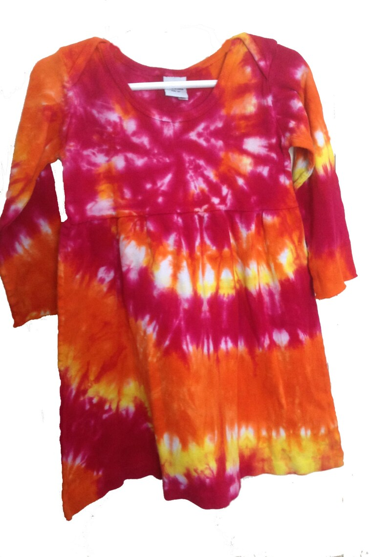c391c194f1294 Tie Dyed Fuchsia, Orange and Lemon Yellow Spiral Long Sleeve Infant/Toddler  Lap Shoulder Dress